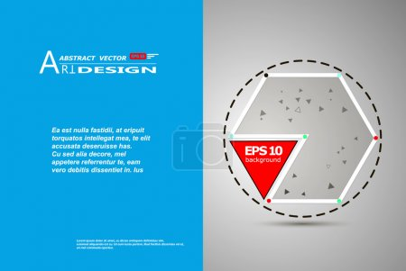 Abstract composition, text frame surface, white, blue title sheet, a4 brochure issue, creative figure, red triangle contour icon, hexagon logo construction, banner form texture, flyer fiber, EPS10