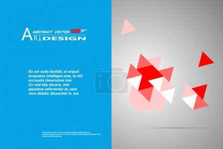 Abstract composition, text frame surface, white, blue title sheet, a4 brochure issue, creative figure, red triangle medley icon, logo construction, banner form texture, flyer fiber, EPS10 backdrop set
