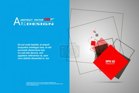 Abstract composition, text frame surface, white, blue title sheet, a4 brochure issue, creative font figure, red square contour icon, logo construction, banner form texture, flyer fiber, EPS10 backdrop