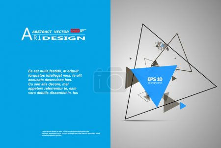 Abstract composition, text frame surface, white, blue title sheet, a4 brochure issue, creative font figure, triangle contour icon, logo construction, banner form texture, flyer fiber, EPS10 backdrop