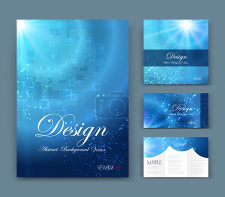Abstract composition, business card set, event info text, geometric shape font texture, blue a4 brochure title sheet, creative marine figure icon, circle logo sign, sale flyer fiber, EPS10 banner form