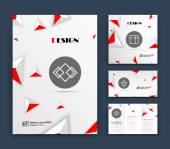 Abstract composition business card set event info text elegant geometric logo font texture white brochure title sheet creative figure icon 3d triangle theme sale flyer fiber EPS10 banner form
