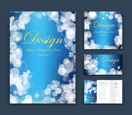 Abstract composition, business card set, event info text, elegant geometric font texture, blue brochure title sheet, creative figure icon, round sky cloud theme, sale flyer fiber, EPS10 banner form
