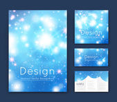 Abstract composition business card set event info text elegant font texture blue brochure title sheet creative cracker figure icon shiny dots flare sale flyer fiber glory EPS10 banner form