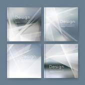 Abstract composition gray business card set sale info text elegant geometric font texture brochure title sheet creative figure icon silver rays plexus outer space flyer fiber EPS10 banner form