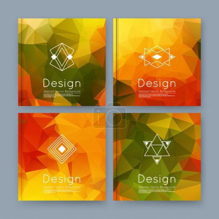 Abstract composition, orange, green business card set, info text, elegant geometric font texture, brochure title sheet, creative figure icon, amber crystal facets, sale flyer fiber, EPS10 banner form
