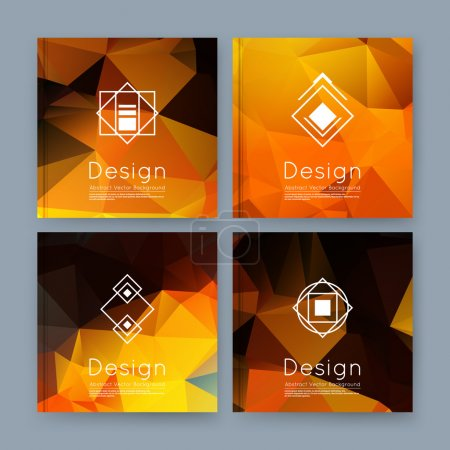 Abstract composition, orange, yellow business card set, info text, elegant geometric font texture, brochure title sheet, creative figure icon, amber crystal facets, sale flyer fiber, EPS10 banner form