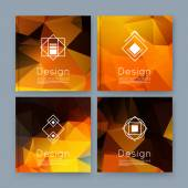 Abstract composition orange yellow business card set info text elegant geometric font texture brochure title sheet creative figure icon amber crystal facets sale flyer fiber EPS10 banner form