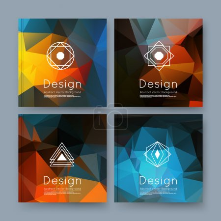 Abstract composition, orange, blue business card set, info text, elegant geometric font texture, brochure title sheet, creative figure icon, amber crystal facets, sale flyer fiber, EPS10 banner form