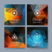 Abstract composition orange blue business card set info text elegant geometric font texture brochure title sheet creative figure icon amber crystal facets sale flyer fiber EPS10 banner form