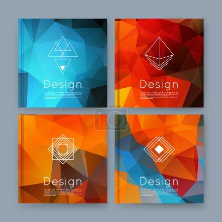 Abstract composition, orange, blue business card set, info text, elegant geometric font texture, brochure title sheet, creative figure icon, amber crystal facets, sale flyer fiber, EPS10 banner form