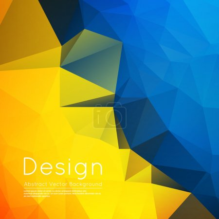 Abstract composition, text frame surface, yellow, blue wallpaper, creative figure, crystal facets icon, title sequence, startup display, screen saver, banner form, flier fashion, EPS10 vector image