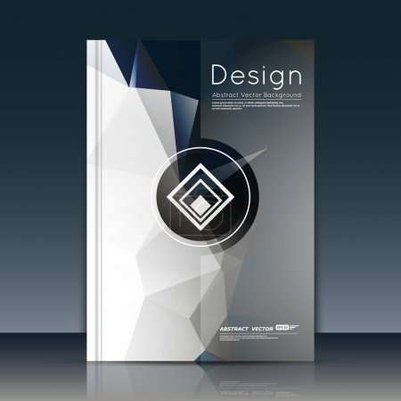 Abstract composition, text font surface, white a4 brochure title sheet, creative figure, logo sign icon, trademark symbol design, firm name emblem, grey banner form, flier fashion, EPS10 vector image