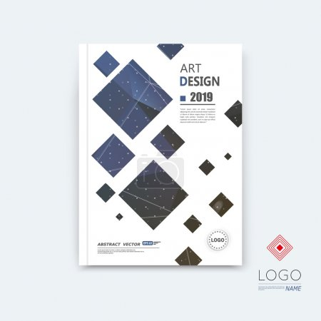 Abstract composition, blue quadrate font texture, square part construction, white a4 brochure title sheet, creative tetragon figure icon, commercial logo surface, firm banner form, EPS10 flier fiber