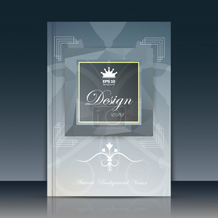 Abstract composition, grey font texture, fleur de lys construction, silver a4 brochure title sheet, creative figure icon, crown commercial logo surface, square frame banner form, luxury flier fiber