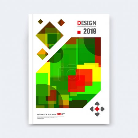 Abstract composition, quadrate texture, square part construction, red, green color a4 brochure title sheet, creative lozenge figure icon, rhombus logo surface, patch banner form, flyer fiber, EPS 10