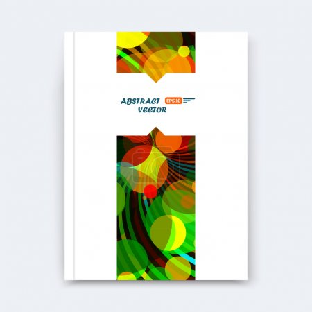 Abstract composition, patch font texture, yellow, green, red circle part construction, white a4 brochure title sheet, creative round figure icon, commercial offer, banner form, flier fiber, curve line