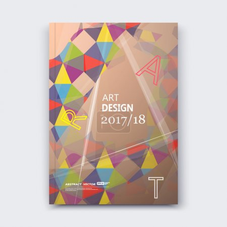 Abstract composition, patch polygonal texture, colored triangle part construction, line plexus, bronze brochure title sheet, creative figure icon, vitrage facet, mosaic inlay, banner form, beige flyer
