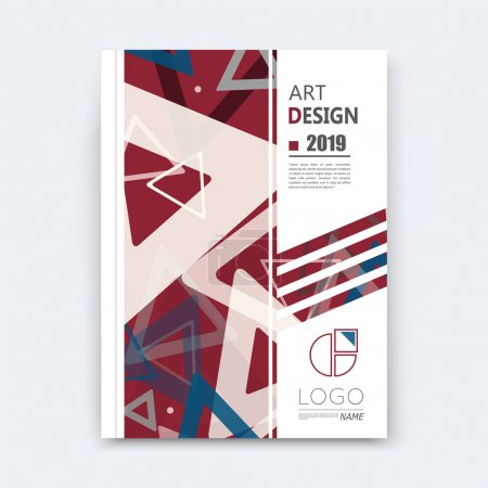 Abstract composition, notebook cover, red triangle font texture, square frame, band construction, a4 brochure title sheet, creative figure icon, commercial logo surface, banner form, EPS10 flier fiber