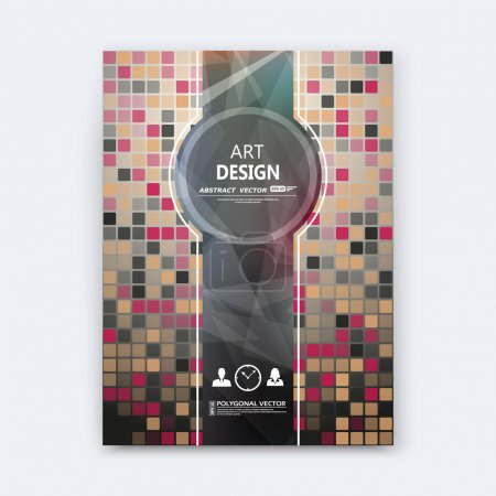 Abstract composition, quadrate texture, square part construction, brown, red color brochure title sheet, creative ceramic tessellation figure icon, logo surface, patch banner form, flyer fiber, EPS10