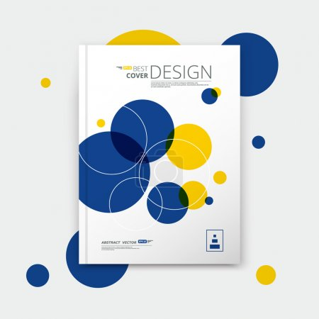 Abstract composition, text frame surface, a4 brochure title sheet, creative figure, logo sign, firm banner form, round icon miniature, blue, yellow colored circle, flier fashion, EPS 10 illustration