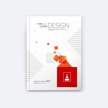 Abstract composition, quadrate texture, red colored square part construction, white a4 brochure title sheet, creative tetragon figure icon, logo label surface, banner display form, flyer fiber, EPS 10