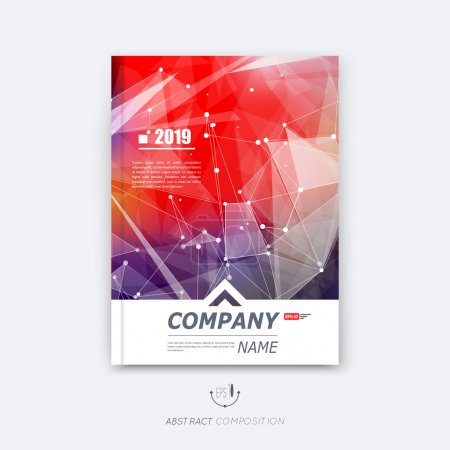Abstract composition, red polygonal texture, triangle part construction, cybernetic dots, lines plexus, a4 brochure title sheet, creative figure icon, crystal facets surface, banner form, flyer font