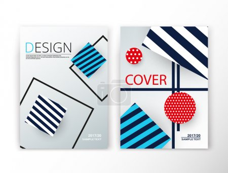 Abstract composition. Blue striped construction font texture. Box block section surface. A4 brochure title sheet set. Creative figure vector art. Commercial offer collection. Banner form. Flyer fiber