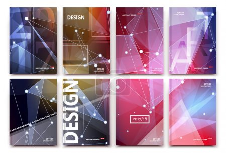 Abstract composition, pink polygonal texture, triangle part construction, cybernetic dots, lines plexus, a4 brochure title sheet, creative figure icon, crystal facets surface, banner form, flyer font