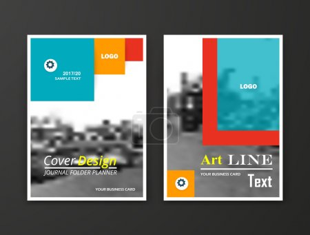 Abstract composition. Monochrome editable cover image texture. Flier set construction. Urban city view banner form. A4 brochure title sheet. Creative figure icon. Firm name logo surface. Flyer font.