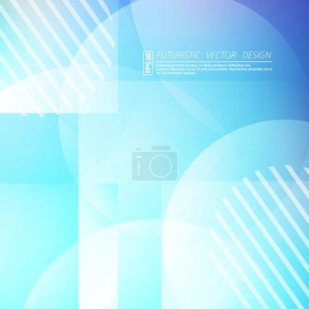 Abstract composition. Futuristic technology backdrop. Blue color gradient quadrangle figure. Sphere font texture. Creative banner. Quadrate wallpaper. White lines connection flyer fiber. Vector art.