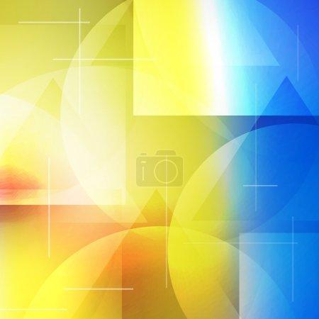 Abstract composition. Futuristic technology backdrop. Rainbow color gradient figure. Blue, yellow, orange sphere font texture. Creative banner. Wallpaper. Lines connection flyer fiber. Vector art.
