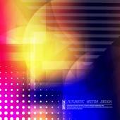 Abstract composition Futuristic technology backdrop Rainbow color gradient figure Blue pink yellow red font texture Creative banner Wallpaper Perforated dots line flyer fiber Vector art
