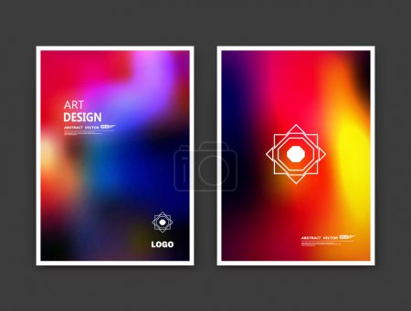 Abstract composition. Rainbow editable texture. Patch blue, yellow, orange, red multicolor construction. Bright banner form. A4 brochure title sheet set. Creative figure icon. Light logo surface flyer