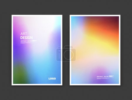 Abstract composition. Rainbow color editable texture. Patch blue, yellow, azure multicolor construction. Monogram banner form. A4 brochure title sheet set. Creative figure icon. Logo surface flyer.