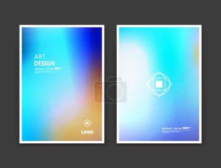 Abstract composition. Rainbow color editable texture. Patch blue, yellow, azure multicolor construction. Monogram banner form. A4 brochure title sheet set. Creative figure icon. Logo surface flyer.