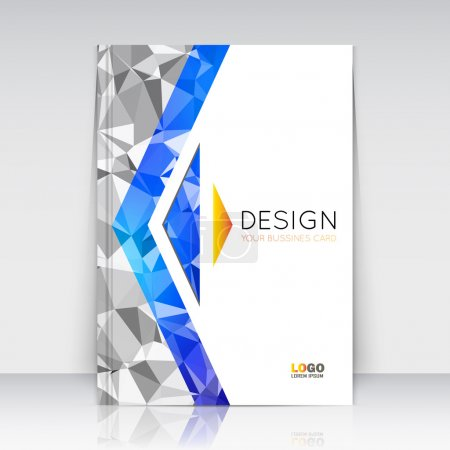 Abstract composition. Blue, grey polygonal texture. Triangle part trademark construction. Lines plexus section. White brochure title sheet. Creative arrow figure icon surface. Banner form. Flyer font.