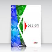 Abstract composition Blue green polygonal texture Triangle part trademark construction Lines plexus section White brochure title sheet Creative arrow figure icon surface Banner form Flyer font