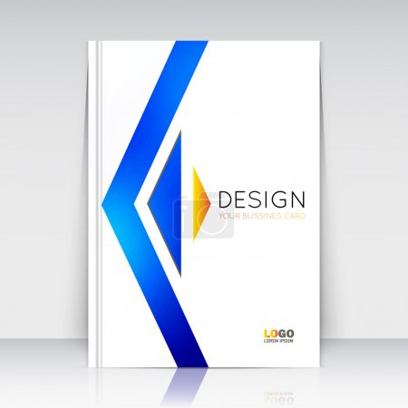 Abstract composition. Blue figure texture. Triangle part  construction. Arrow trademark section. White brochure title sheet. Creative logo icon surface. Light banner form. Firm identity. Flyer font
