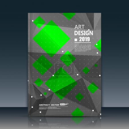 Abstract composition. Green, black font texture. Perforated dot construction. Square block. A4 brochure title sheet. Creative figure icon. Commercial logo surface. Pointed banner form. Flier fiber.