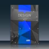 Abstract composition. Black, blue font texture. Perforated dot construction. Text frame. A4 brochure title sheet. Creative figure icon. Commercial logo surface. Pointed banner form. Dark flier fiber