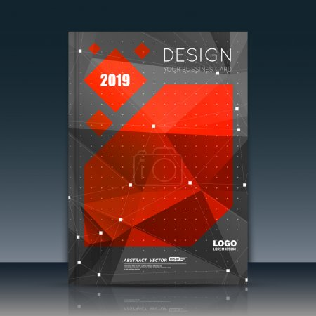Abstract composition. Red, black font texture. Perforated dot construction. Square block. A4 brochure title sheet. Creative figure icon. Commercial logo surface. Pointed banner form. Dark flier fiber.