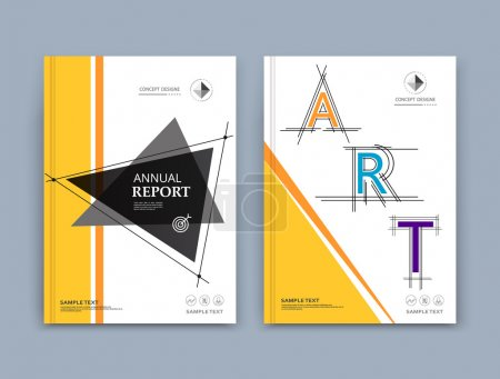 Abstract composition. Yellow, black, triangular texture. Stripe, lines, part construction. White brochure title sheet. Header. Creative figure icon surface. Triangle section banner form. Flyer font.