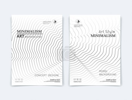 Abstract composition. Black curl lines texture. Whorl contour construction. Tendril parts. White a4 brochure title sheet. Creative  figure icon. Twiddle surface. Banner form. quirk wreath flyer font