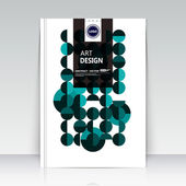 Abstract composition. Text frame surface. Brochure cover. White title sheet. Creative logo figure. Ad banner texture. Green, turquoise round mosaic icon. Flyer fiber backdrop. Vector illustration
