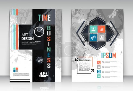 Abstract composition, figure logo business card set, correspondence collection, a4 brochure title sheet, creative text frame surface, time management backdrop, financial icon construction, EPS10 illustration, flier fashion, typography production