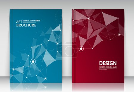 Abstract composition, business card set, correspondence collection, a4 brochure title sheet, blue, red surface, creative text frame, figure logo icon, molecular backdrop, scientific materials, EPS10 illustration, flier fashion, typography production