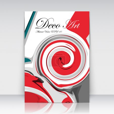 Abstract a4 brochure title sheet, swirl text frame icon, loop blotch deco, helix gyre figure, logo sign, paint blob, black, white, red curve lines crest, firm banner form, blur blot, fancy EPS10 flier fashion, daily periodical issue, trademark emblem