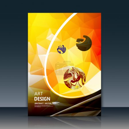 Abstract a4 brochure title sheet, swirl text frame icon, stain blotch deco, daily periodical issue, trademark emblem, creative figure, curve line logo sign, paint blob, yellow, black, orange firm banner form, blur blot, flier fashion, fancy EPS10