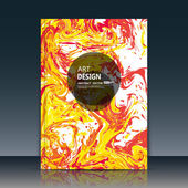 Abstract a4 brochure title sheet swirl text frame icon stain blotch deco creative grunge figure logo sign paint blob yellow red orange curve lines firm banner form blur blot flier fashion daily periodical issue fancy EPS10 illustration